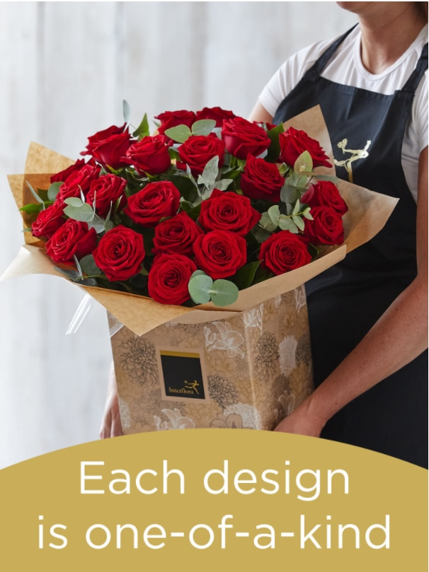 Hand-tied Bouquet of 24 Red Roses Flower Arrangement