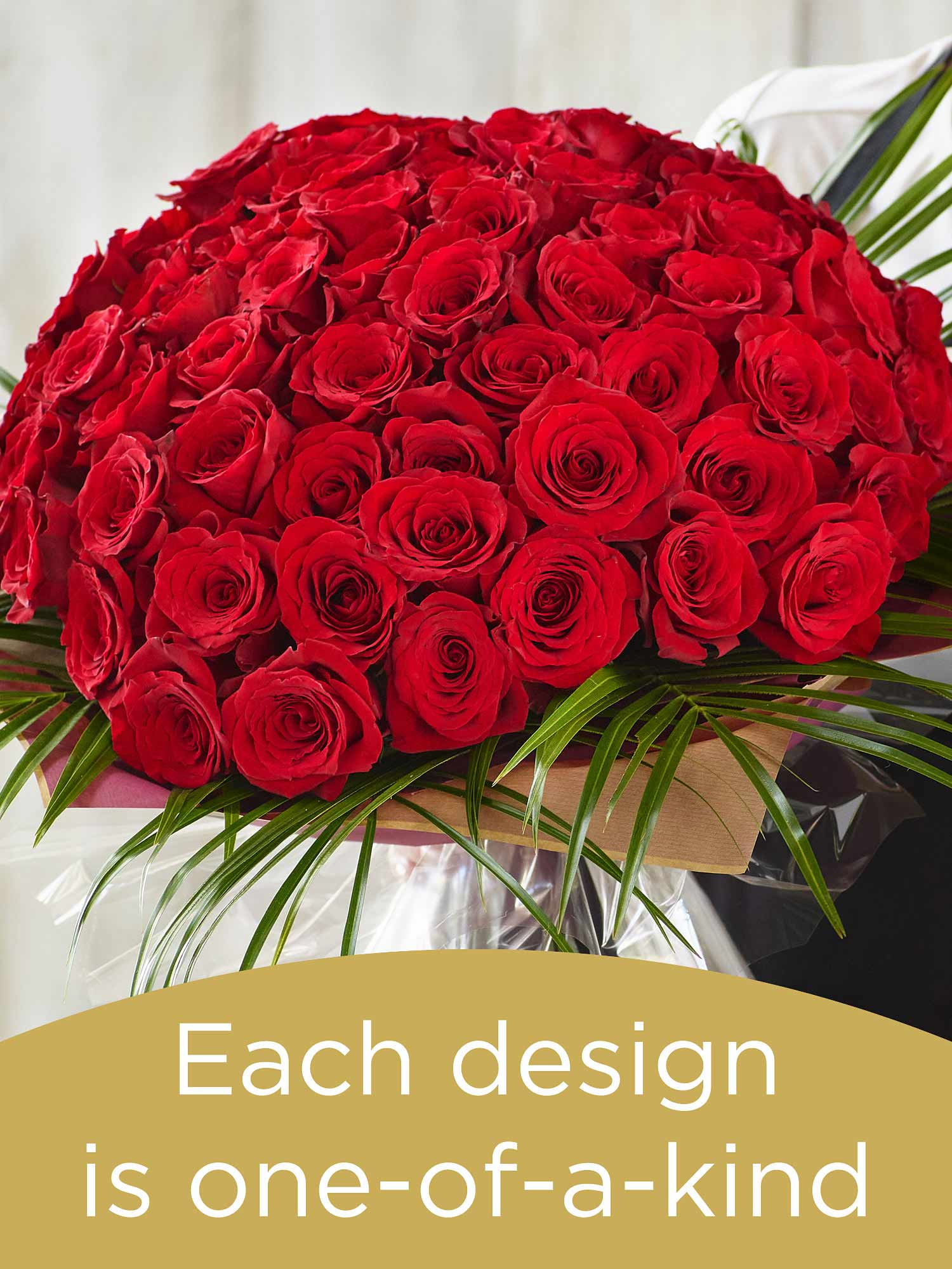 Valentine's 100 red rose hand-tied bouquet made with the finest flowers  Flower Arrangement