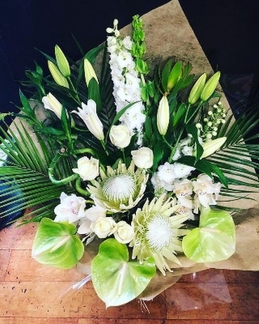 White and Green Show Stopper Flower Arrangement